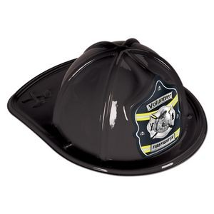Black Plastic Volunteer Firefighter Hats (CLEARANCE)